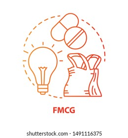 FMCG red concept icon. Fast moving consumer goods idea thin line illustration. Low cost and quickly sold products. Market industry management. Vector isolated outline drawing. Editable stroke