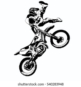 FMX, trick rider, on a white background, isolated eps 10