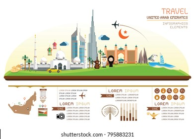 fo graphics travel and landmark united arab emirates template design. Concept Vector Illustration
