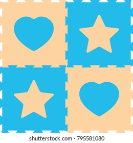 Foam Baby Kids Play Mat hearts and stars Puzzle