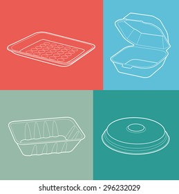 foam box. empty plastic container. vector illustration