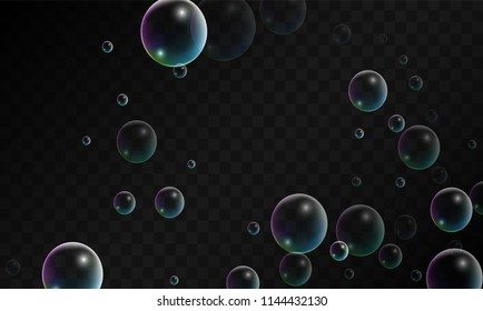 Foam bubbles with Rainbow Reflection. Set of Realistic Soap or Foam Bubbles for Your Design. Shampoo or Foam Cosmetic Flyer and Invite. Bubble with Hologram Reflection. Isolated Vector Illustration.