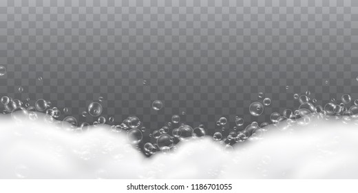 Foam effect isolated on transparent background. Soap, gel or shampoo bubbles overlay suds texture. Vector white shaving, mousse foam pattern.