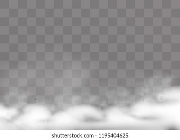 Foam effect isolated on transparent background. Soap, gel or shampoo bubbles. Vector white shaving mousse foam pattern.