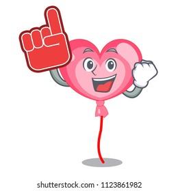 Foam finger ballon heart mascot cartoon