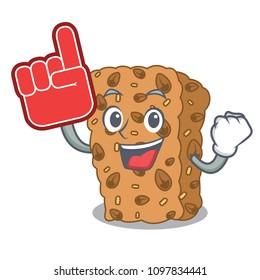 Foam finger granola bar mascot cartoon