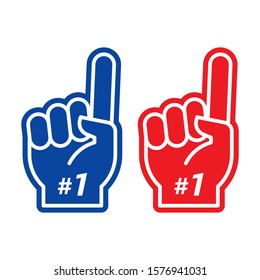 Foam finger. Number one fan hand glove with finger raised. Vector illustration