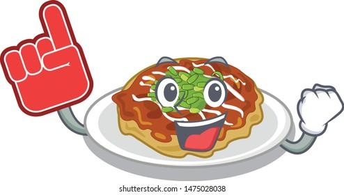 Foam finger okonomiyaki is served on cartoon plate