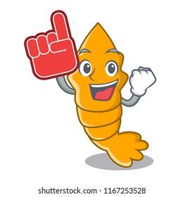 Foam finger steamed fresh raw shrimp on mascot cartoon