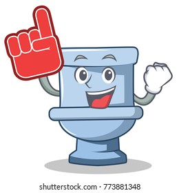 Foam finger toilet character cartoon style