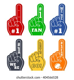 Foam fingers icons in six colors. We're #1. Lets' Go. Number One Fan