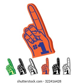 Foam hand Finger Number One #1 Illustration Set