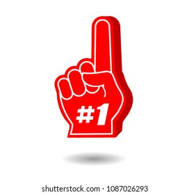 Foam Hand, Red Finger, Number One #1 Fan Glove, Sport Concept Supporting Sign, Isolated on White Background, Hand Drawn Vector 3D Illustration