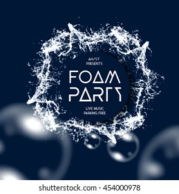 Foam party splash vector background