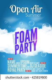 Foam Party summer Open Air. Beach pool night foam party poster or flyer card design template. Tropical island disco club
