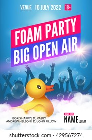 Foam Party summer Open Air. Foam party poster or flyer design template with people silhouettes and duckling toy.