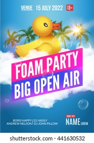Foam Party summer Open Air club. Beach night party foam party poster or flyer dance design template.
