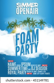 Foam Party summer Open Air. Beach pool foam party poster or flyer design banner template.