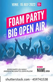 Foam Party summer Open Air. Foam party poster or flyer design template open air with youth people silhouette.