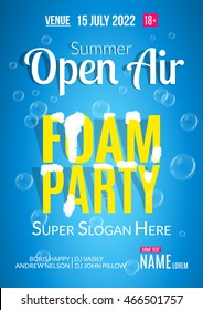 Foam Party summer Open Air. Beach foam party poster or flyer design template.