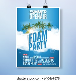 Foam Party summer Open Air. Beach foam party tropical poster or flyer design template.