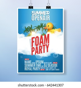 Foam Party summer Open Air. Beach foam party tropical poster or flyer design template with duckling toy.
