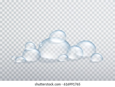 Foam or shampoo bubbles isolated on transparent background. Vector shower gel, foam, liquid soap water bubbles template.