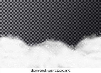 Foam texture with soap bubbles on transparent background. Bath foam background with shampoo or soap bubbles. Vector