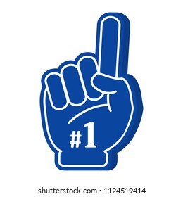 Foam vector. Victory hands symbol. Number one and the best