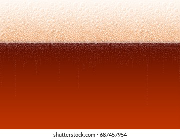 Foamy beer of variety Dark Stout Porter with bubbles. Vector background for a beer festival Oktoberfest. High detailed realistic illustration. No Mesh