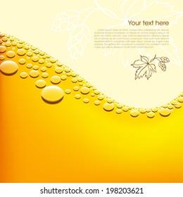 Foamy beer vector background. Easy editable background color