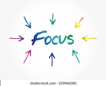 Focus arrows directions, business concept background