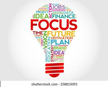 FOCUS bulb word cloud, business concept