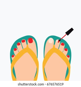 focus & close up above on a feet cartoon isolated with red brush nail polish or pedicure vector flat design style for beauty & fashion. nail manicure process on a female or woman legs & flip flops