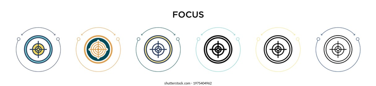 Focus icon in filled, thin line, outline and stroke style. Vector illustration of two colored and black focus vector icons designs can be used for mobile, ui, web