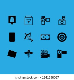 focus icon set about road location, crossbow, billiard and photo camera vector set