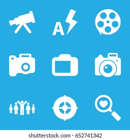 Focus icons set. set of 9 focus filled icons such as heart search, camera display, auto flash, target, camera, group of people and man celebrating victory, movie tape