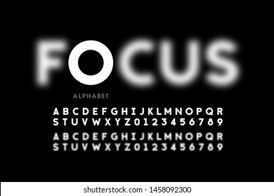 In focus style font design, alphabet letters and numbers vector illustration