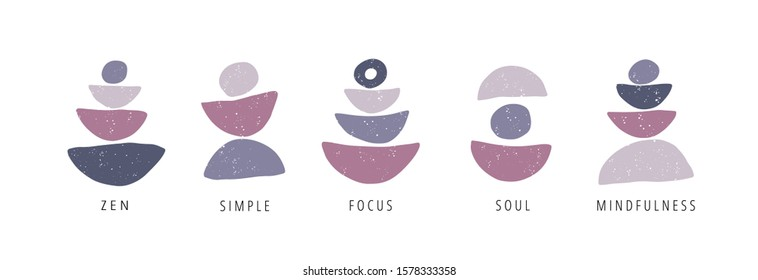 Focus, zen, simple, mindfulness flat vector posters set. Motivational drawings collection isolated on white background. Creative print, t shirt design element. Balance, harmony and wellbeing concept