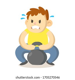 Focused boy trying to lift up a heavy sports weight, cartoon character design. Colorful flat vector illustration, isolated on white background.