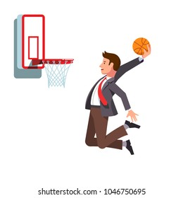 Focused business man jumping holding ball performing basketball hoop slam dunk. Effort in achieving business goals & success metaphor. Flat style vector illustration isolated on white background