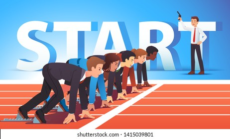 Focused business people group managers & entrepreneurs man, woman standing ready for run sprint competition on race track start line waiting starter pistol signal. Flat vector character illustration