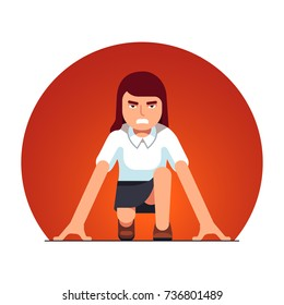 Focused business woman in starting position beginning a sprint race. Metaphor of start up entrepreneurship. Flat style vector illustration isolated on white background.