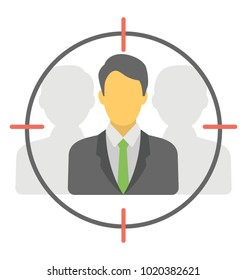 Focused market, flat vector of targeted audience concept