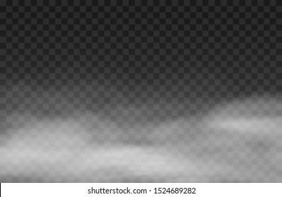 Fog  effect.  White vector cloudiness, mist background. Smoke cloud on transparent background. Vector illustration
