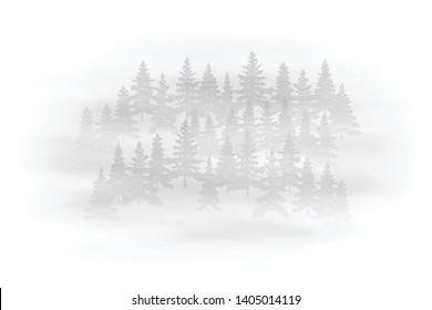 Fog in the forest, black and white landscape, vector illustration, EPS10