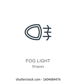 Fog light icon. Thin linear fog light outline icon isolated on white background from shapes collection. Line vector sign, symbol for web and mobile