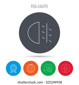 Fog lights icon. Car beam sign. Globe, download and speech bubble buttons. Winner award symbol. Vector