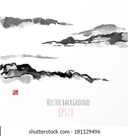 Fog mountains, hand-drawn with ink in traditional Japanese style sumi-e.