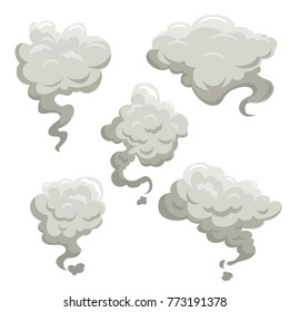 Fog or smoke after exposion set. Cartoon flat simple gradient style vector illustrations. Best for game kid comic design.